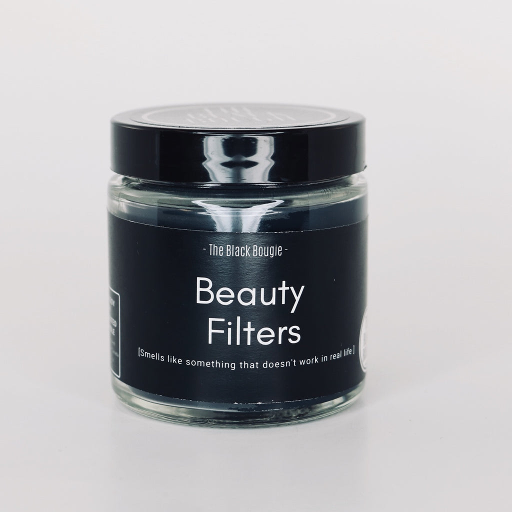 Black soy wax scented candle in glass Jar -4oz - Named:  Beauty filters