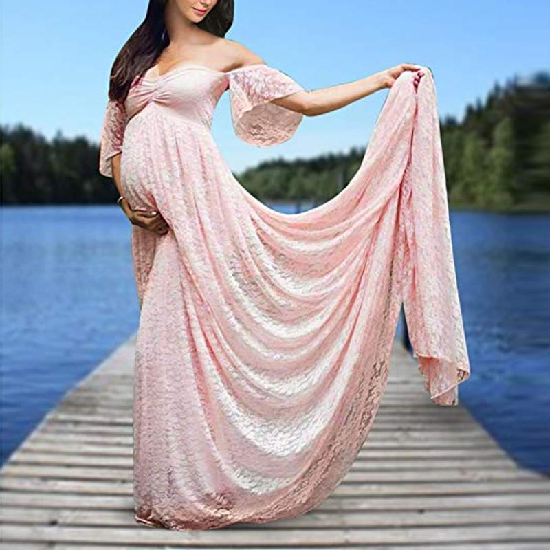 Maternity Off Shoulder Lace Baby Shower Dress