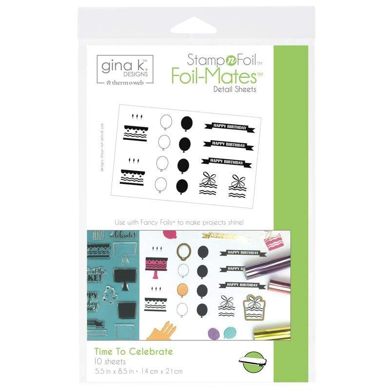 Therm O Web Gina K. Designs StampnFoil Foil-Mates Detail Sheets, Time To Celebrate 18076