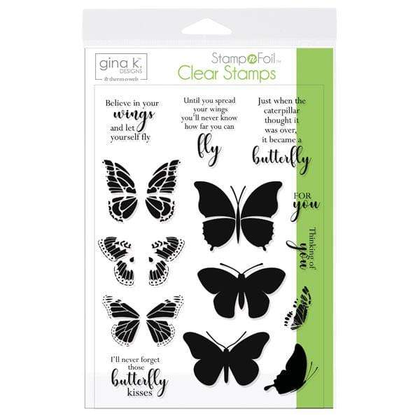 Therm O Web Gina K. Designs StampnFoil Stamp Set,  Butterfly Kisses 18078