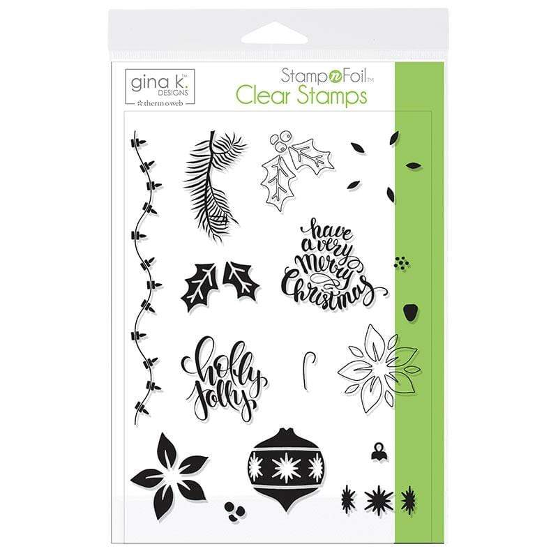 Therm O Web Gina K. Designs StampnFoil Stamp Set, Holly Jolly 18119
