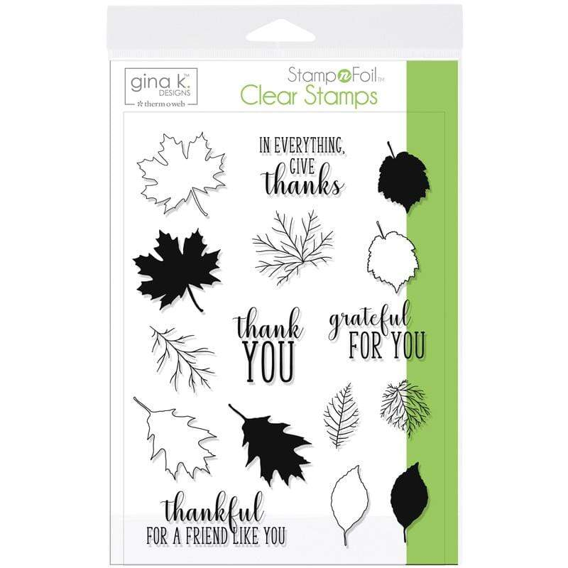 Therm O Web Gina K. Designs StampnFoil Stamp Set, Thankful Leaves 18106