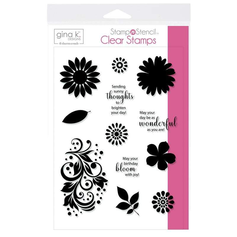 Therm O Web Gina K. Designs StampnStencil Stamp Set, Crazy Daisy 18128