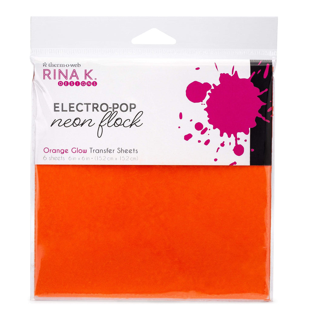 Therm O Web Rina K. Designs Neon Flock Transfer Sheets, Orange Glow 18167