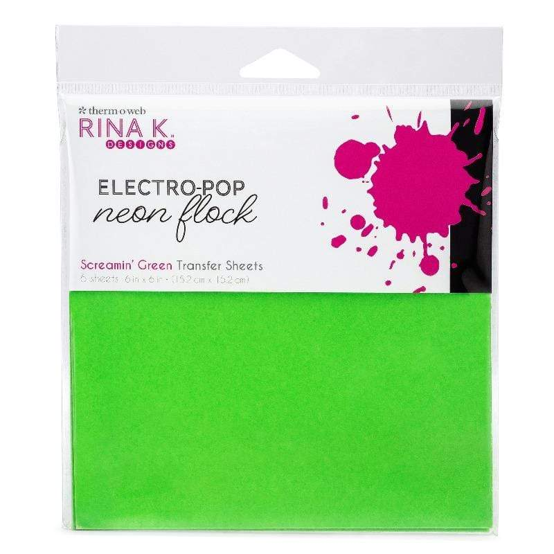 Therm O Web Rina K. Designs Neon Flock Transfer Sheets, Screamin' Green 18166