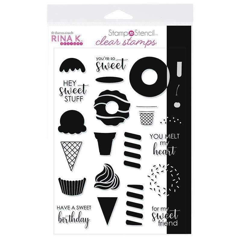 Therm O Web Rina K. Designs StampnStencil Stamp Set, Sweet Stuff 18157