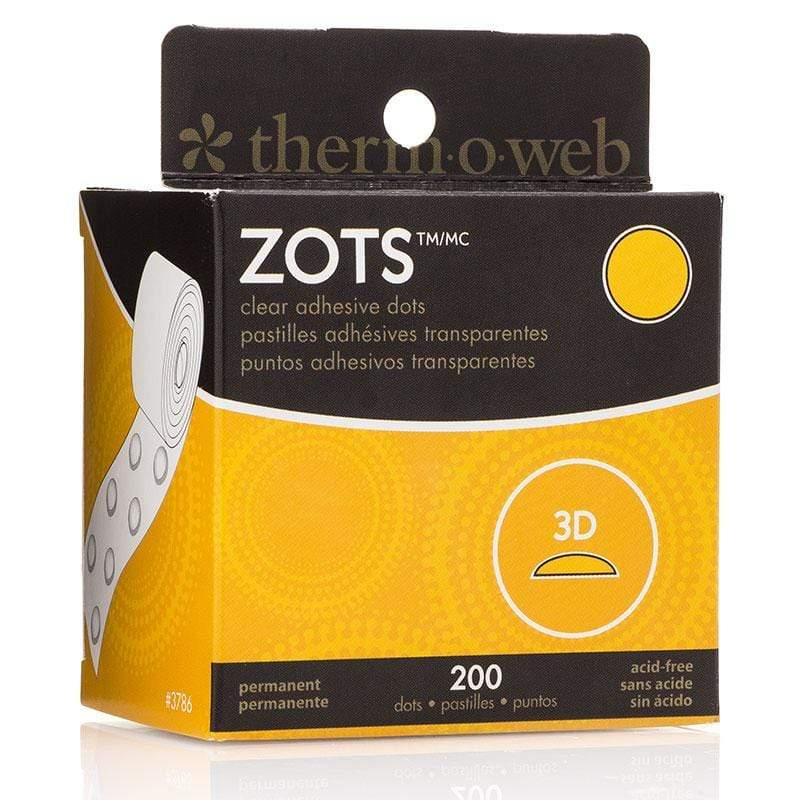 Therm O Web Zots Clear Adhesive Dots Roll 200 count, 3D 3786