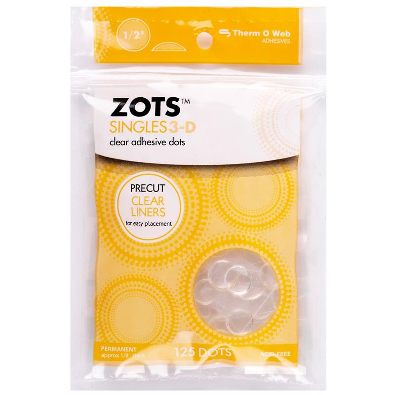 Therm O Web Zots Clear Adhesive Dots Singles Pack 125 count, 3D 3692