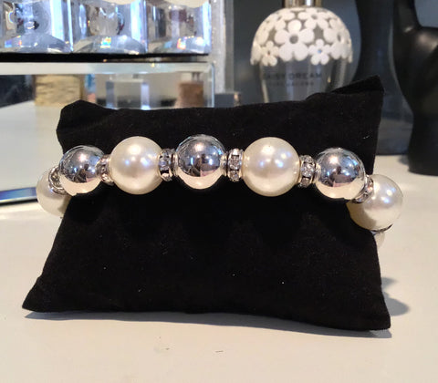 "Dawn Pearl Silver Diamond Bracelet - The ""Dawn Shrel Elegance"" Collection by VBA Boutique"