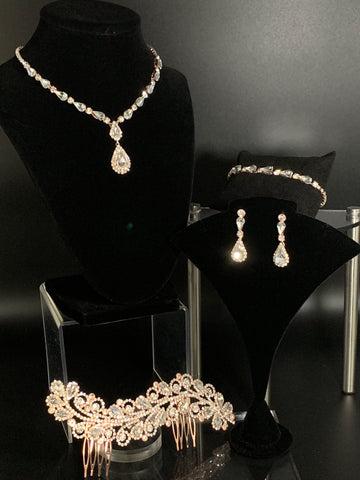 Celine' Bridal Headpiece Necklace Set (4pcs)