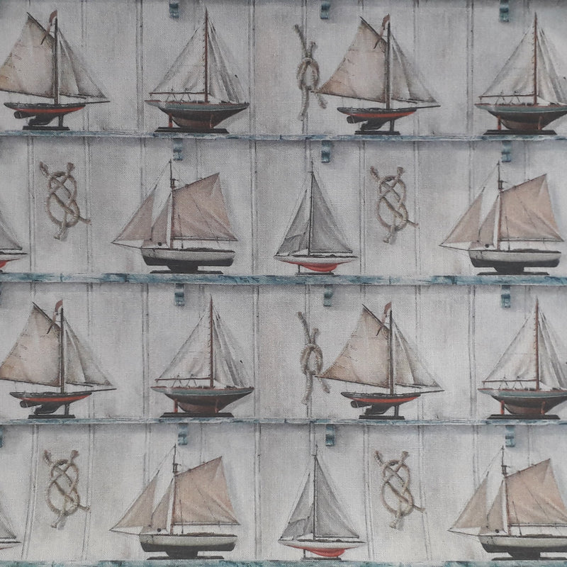 100% Cotton Fabric with Sailing Boat Print 150cm Wide  Edit alt text