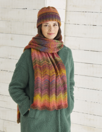 Sirdar Jewelspun Knitting Pattern - Scarf & Hat