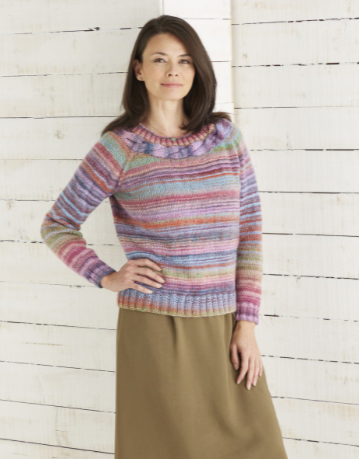 Sirdar Jewelspun Knitting Pattern - Top Down Sweater