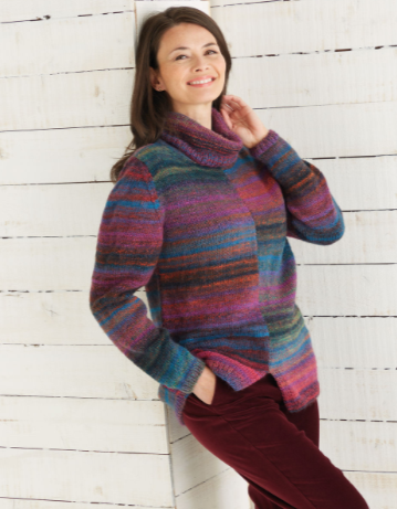 Sirdar Jewelspun Knitting Pattern - Two-Tone Sweater