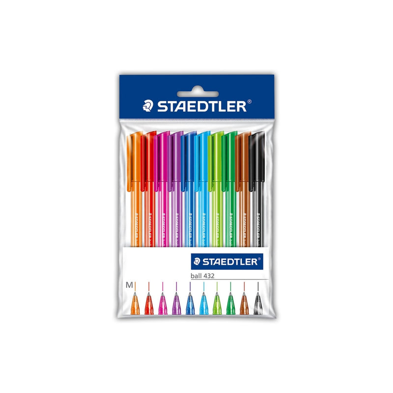 Staedtler Ball Pen Pack - 10 Assorted Colours