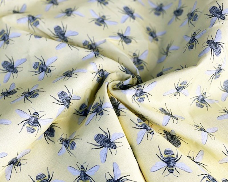 DIGITAL COTTON PRINT - Yellow Bees