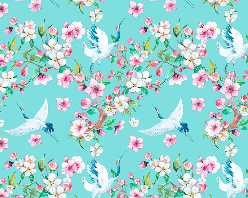DIGITAL COTTON PRINT - Floral Cranes