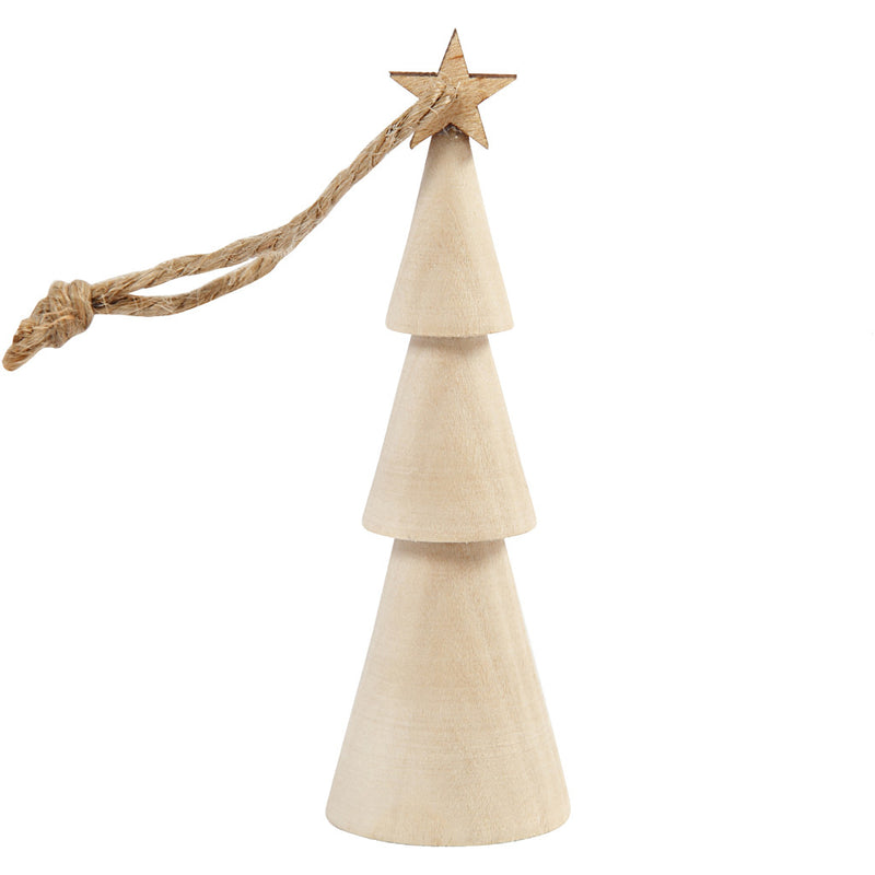 Plain Wooden Christmas Tree Hangings to Decorate