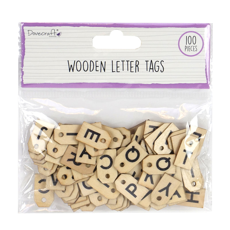 Wooden Letter Tags - 100 Pieces
