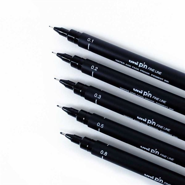 BLACK - Uni Pin Fineliner Pens & Sets