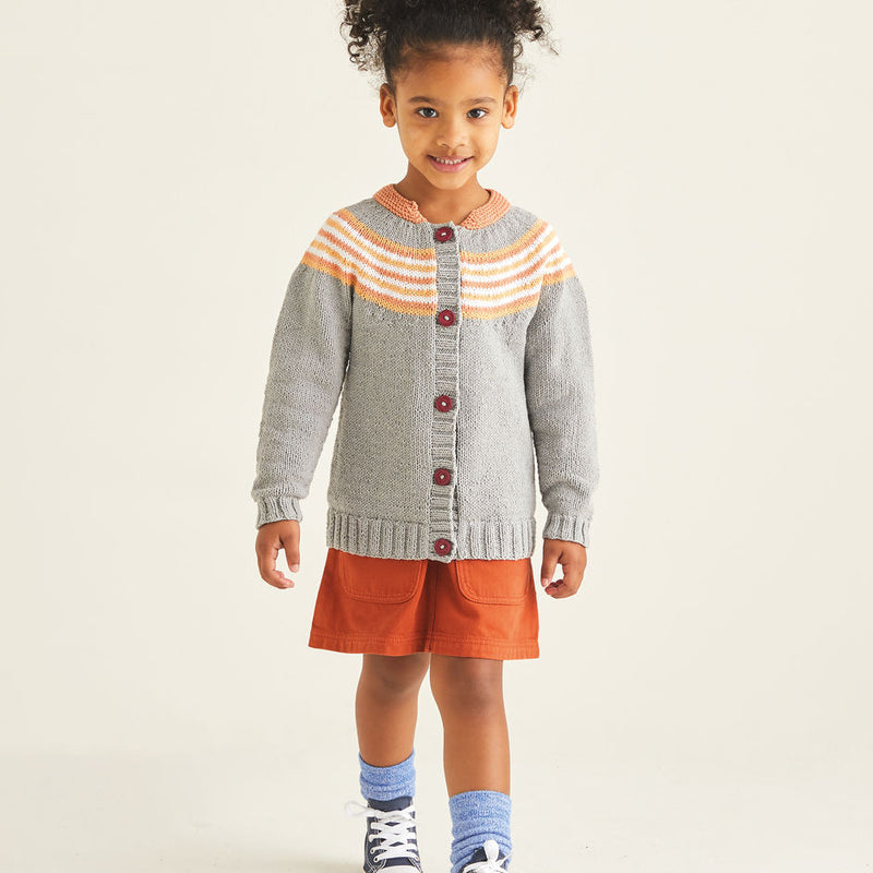 Kids Striped Yoke Cardigan 2528
