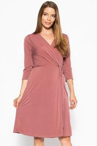 Midi 3/4 Sleeve Dress With A Overlapping V-neck Line And A Belted Waist