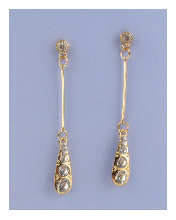 Drop earrings w/rhinestone detail - Kendalls Deals