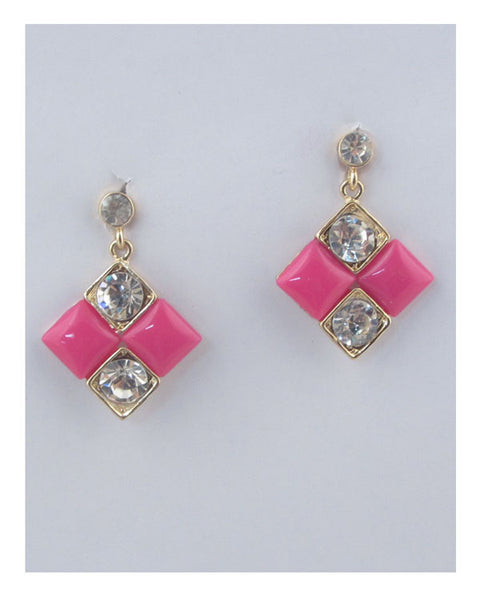 Square earrings w/rhinestone detail - Kendalls Deals