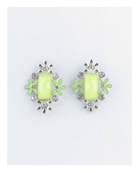 Rectangle faux stone earrings w/ flowers - Kendalls Deals