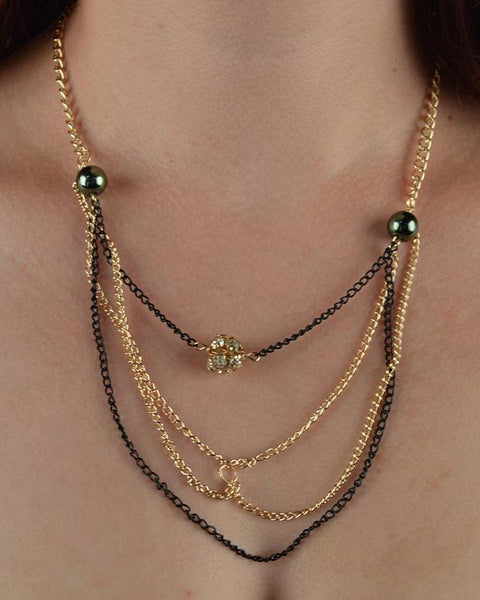 Layered faux pearl chain necklace w/ rhinestone detail - Kendalls Deals