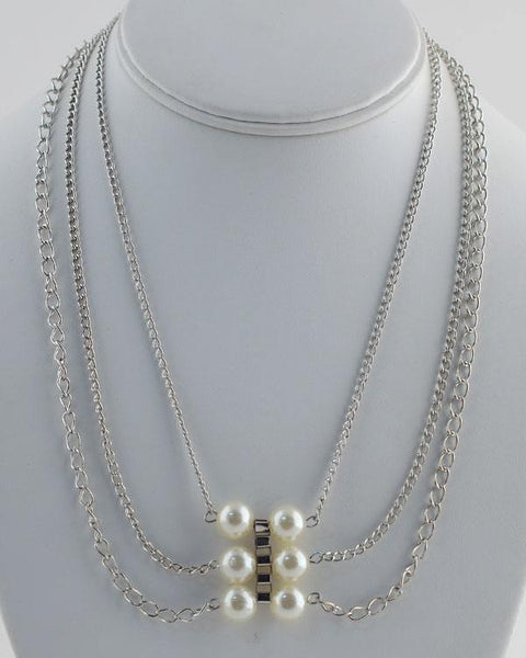 Layered Faux Pearl Chain Necklace - Kendalls Deals