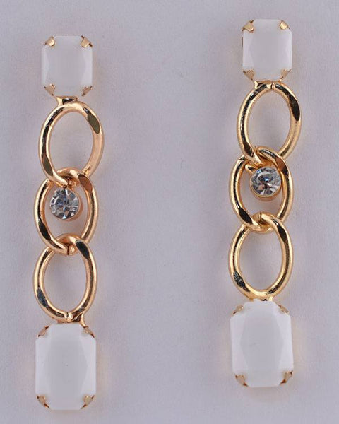 Faux Gemstone Curb Link Rhinestone Dangle Earrings - Kendalls Deals
