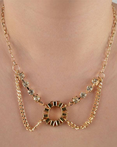Rhinestone Layered Chain Necklace - Kendalls Deals