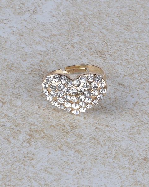 Rhinestone Studded Heart Shaped Ring