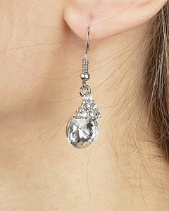 Triangular Crystal Cluster Drop Earring with Multifaceted Crystal Accent - Kendalls Deals