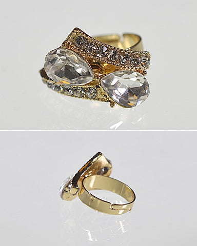 Crystal and Rhinestone Studded Adjustable Metallic Ring - Kendalls Deals