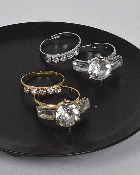 Combination of Two Adjustable Stone and crystal Studded Rings - Kendalls Deals