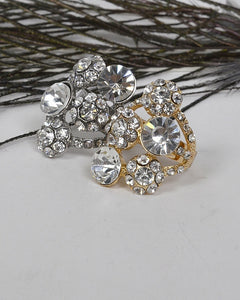 Adjustable Cluster Ring with Studded Crystals - Kendalls Deals