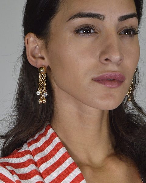 Tasseled Chain Earrings with Crystal Embellishments