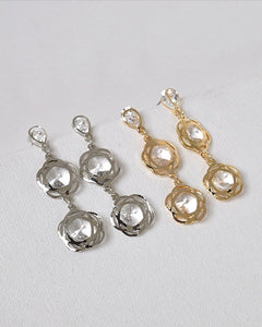 Crystal Accented Twin Floral Danglers - Kendalls Deals