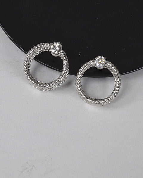 Double Circle Crystal Accent Textured Earring - Kendalls Deals