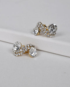 S Shaped Stone and Crystal Studded Earrings id.31435 - Kendalls Deals