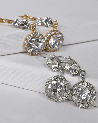 Crystal and Stone Studded Drop Earrings with Lever Back id.31436 - Kendalls Deals