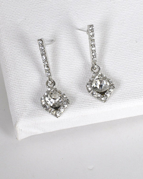 Crystal and Stone Studded Rhombus Shaped Drop Earrings id.31494 - Kendalls Deals