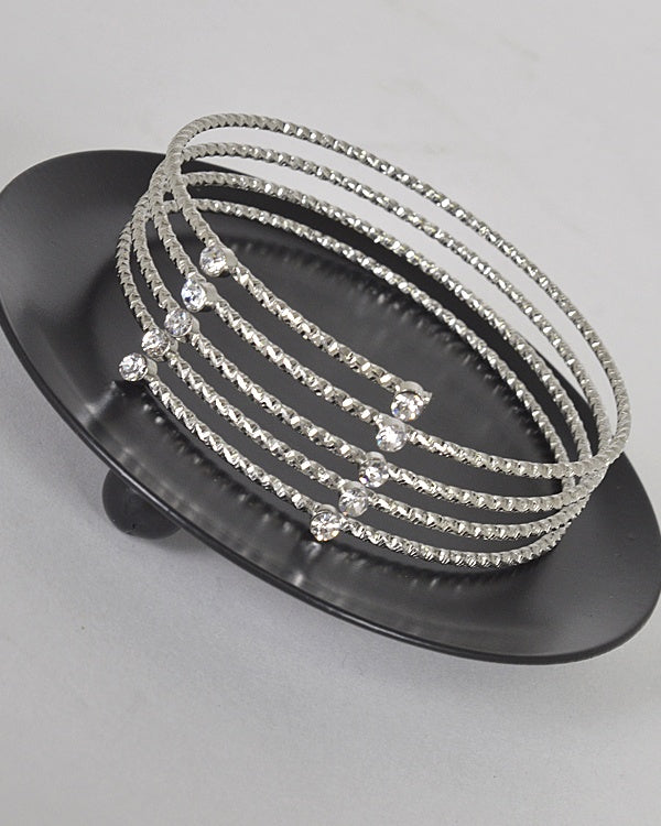 Layered Stone and Crystal Studded Metallic Bracelet - Kendalls Deals