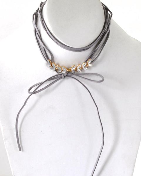 Marquise Shape Crystal Detailing Tie Up Choker Necklace