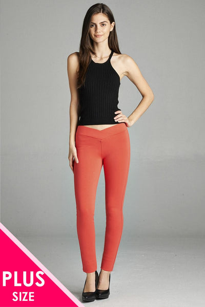 Ladies fashion plus nr span ponte seagull shaped waistband long pants - Kendalls Deals