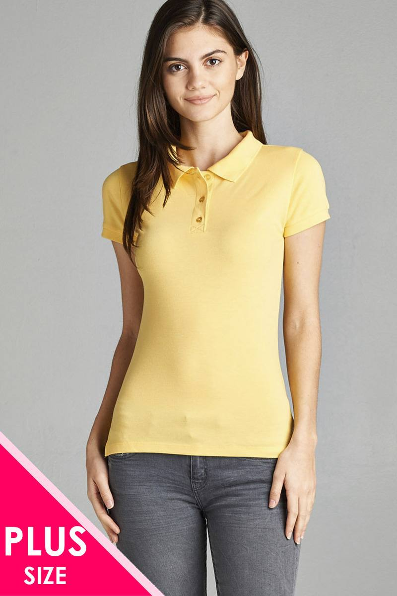 Ladies fashion plus size classic pique polo top - Kendalls Deals