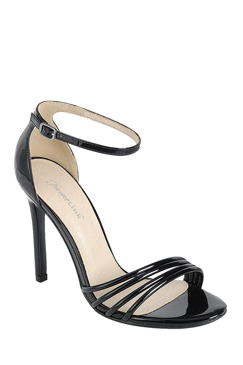 Ladies fashion high heel sandal, open round toe, single sole stiletto, buckle closure - Kendalls Deals
