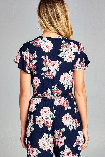 Ladies fashion short sleeve self tie floral print crinkle gauze crop woven top - Kendalls Deals